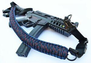 """60"""" Tactical 550 Paracord Gun Rifle Bow Shotgun Sling 1 or 2 Point SHARK BITE"""