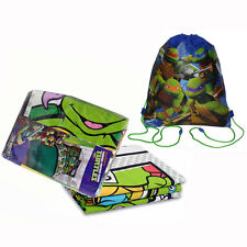 TMNT Ninja Turtles 2pc Twin Sheet Set -Flat & Fitted Sheets + Sling Backpack Bag
