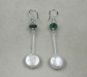 Large Silvery White Coin Pearls & Emerald Jade Sterling Silver Long Drop Earring