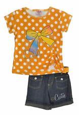2 Be Real Girls Orange Polka Dot Top 2pc Denim Short Set Size 5/6
