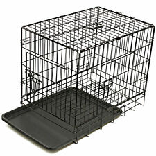 "Dog Kennel Crate Large 36"" Heavy Duty Metal Double Door Folding Pet Cage"