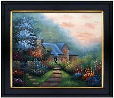 Framed Cottage w/Stairway and Flowering Garden Hand Painted Oil Painting 20x24in