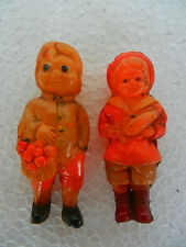 Vintage Boy & Girl Carrying Fruits Celluloid Toy Figurine , Japan