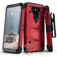 LG G6 Bolt Case W/Stand - Red/Black Case Cover Shell Shield
