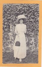 Real Photo Postcard RPPC - Woman Wearing Beautiful Hat and Parasol in Garden