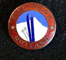 PICO PEAK Vintage 1940s Sterling Skiing Ski Pin VERMONT Souvenir Travel RARE!