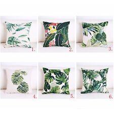 Lush Tropical Rainforest Cotton Linen Green Leaves Printed Sofa Cushion Home