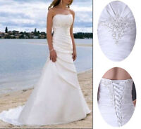 Stock White/Ivory Strapless Satin A line Wedding Dress Bridal Gowns Size6 8 10++