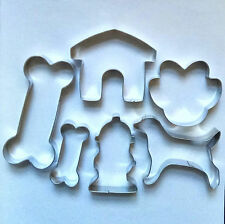 Dog Theme Cookie Cutter Bone Paw House Hydrant Fondant Pastry Baking Steel Set