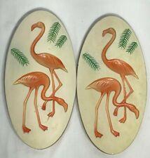Vintage Plaster Flamingo Wall Plaque 50's Kische