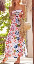 Maxikleid Sommer Kleid neon Blume bedruckt Gr.44 Rainbow Neu 914594