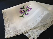 #5033🌟Vintage Floral Sweet Purple Violets Pansies Embroidery Lace Handkerchief