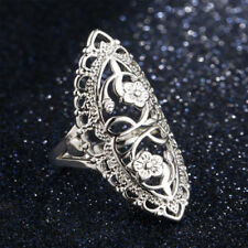 Silver Plated Hollow Big Wedding Ring Size 6,7,8,9,10 Women Fashion Jewelry