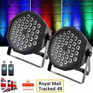 2pcs 36 LED Stage Lights RGB Par Can Flat DMX512 Bar DJ Disco Uplighter Lighting