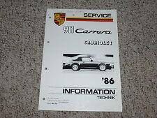 1986 Porsche 911 Carrera Cabriolet Top Shop Repair Service Workshop Manual