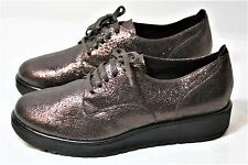 ILSE JACOBSEN SHOES CRACKLED METALLIC LEATHER LACE UP WEDGE SNEAKER OXFORD NEW 7