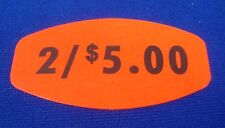 """1,000 Self-Adhesive 2 / $5.00 Labels 1.5"""" x .75"""" Stickers Retail Store Supplies"""