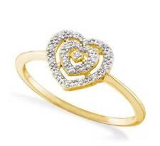 Diamond Heart Ring 10K Yellow Gold Heart Cluster Diamond Ring .04ct Lightweight