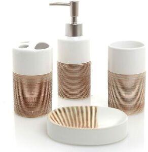 Contemporary 4 Piece Dual-Tone White & Beige Ceramic Ribbed Finish Bath Set