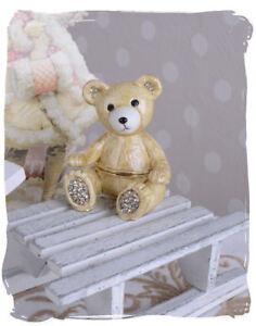 Jewelry Box Vintage Teddy Bear Box Faberge cloisonne Pill Box Metal Strass