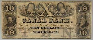 PMG MS 62 New Orleans Canal & Banking Co. $10 Note 1840s