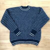 Vintage Men's Kaare Gjose Norway Cosby Style Knit Sweater 80s 90s Retro Jumper