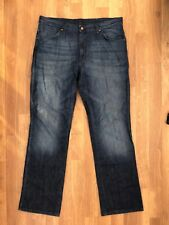 WRANGLER Alaska Straight Jeans W38 L34 Navy blue denim cotton mens zip fly