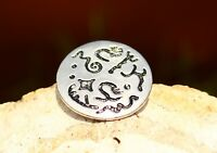 BROOCH silver tone with stamped symbols