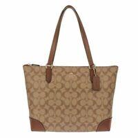 New Authentic Coach F29208 Zip Tote  Signature PVC Handbag Shoulder Purse Khaki