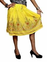A Indian Rayon Embroidered Sequin Work Hippie Gypsy Short Skirt Dress (Yellow)