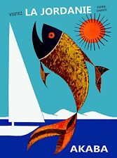 Akaba Jordan La Jordanie Terre Sainte Beach Travel Vintage Advertisement Poster
