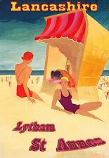 Vacation Holiday Lytham St Annes Lancashire Travel  beach Poster Print