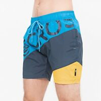 Crosshatch Quarts Men's Diagonal Stripe Swim Shorts Sport Surfing Beach Trunks