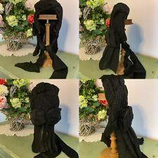 Antique 1860's Civil War Era Black Victorian Mourning Spoon Bonnet