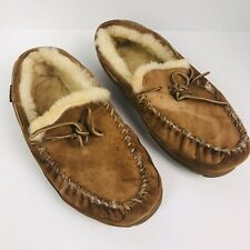L L Bean slippers moccasins wicked brown shearling Men's Size 10 Wide Warm Shoes