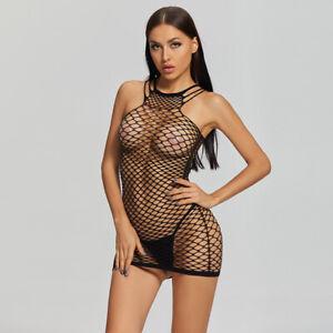Glamour Womens Erotic Lingerie Fishnet Sleepwear Sexy Sling Wrap Hip Short Dress