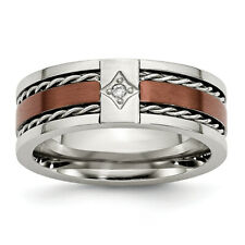 Chisel Stainless Steel Brushed Brown IP-plated w/Diamond 8mm Polished Band Ring
