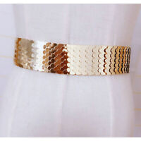Stylish girdle wild metal wide belt fish scale alloy belt elastic band