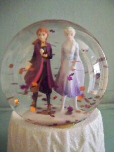 M&S Disney's 'Frozen' 2 Glitter Globe Snow Dome Elsa & Anna Ornament Height 14cm