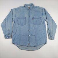 Vintage Mens Levis M Blue Red Tab L/S Embroidered Rivet Button Denim Jean Shirt
