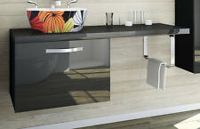 Badmöbel Set Unterschrank mit Platte 120cm Hochglanz Badezimmer Schwarz
