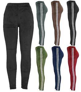 New Women Velour Velvet Stripe Stretch Casual Slim Fit Sport Legging Jogger