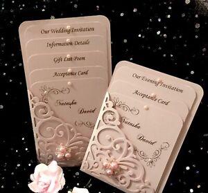 EVENING  INVITATION PINK PEARL BLUSH VINTAGE POCKET 3 CARD  LASER CUT