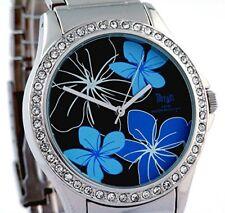 Terrain TF-015L Stone Set Black Face Floral Ladies design watch