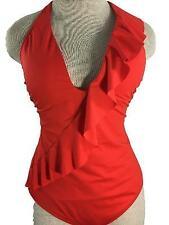 Ralph Lauren bathing suit size L large 12 halter 1 piece red ruffle padded bra