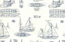 MO117 Sailing Yacht Sailboat Sail Boat Blueprint Drawing Cotton Quilt Fabric