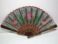 Vtg Embroidered Fabric Handheld Spanish Folding Fan Roses Colorful Black