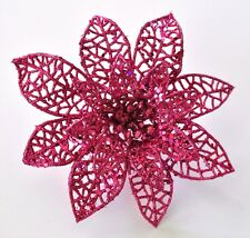 "5"" Pink Glitter Poinsettia Hair Clip Holiday Festive Christmas Handmade"