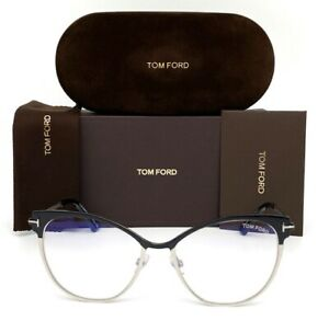 Tom Ford FT5530-B 005 Black Palladium / Blue Block  54mm Eyeglasses TF5530-B