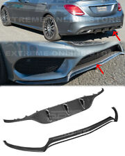 CARBON FIBER Front Lip & Rear Diffuser For 15-18 W205 C-Class AMG Sport Style